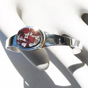 Jewelry - Sterling Silver 925 Red and White Stone Cuff